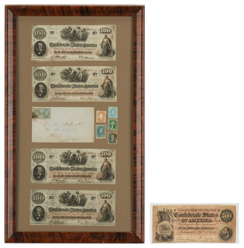 Lot 1155: T-64 $500 CSA Note, Framed Currency and Stamps, incl. T-41 $100