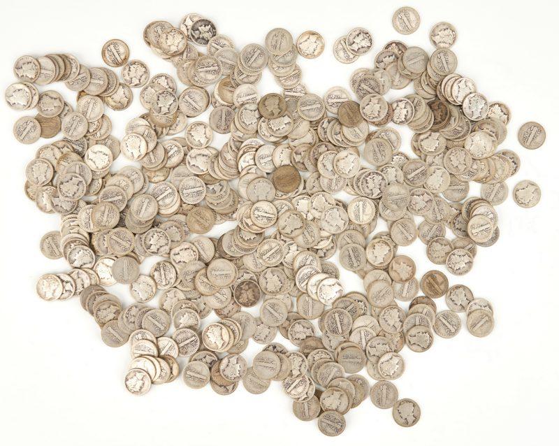 Lot 1159: 478 Mercury Silver Dimes, circa 1910-1929