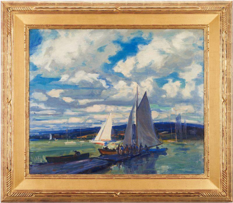 Lot 115: Emile Gruppe O/C Harbor Scene, Gloucester