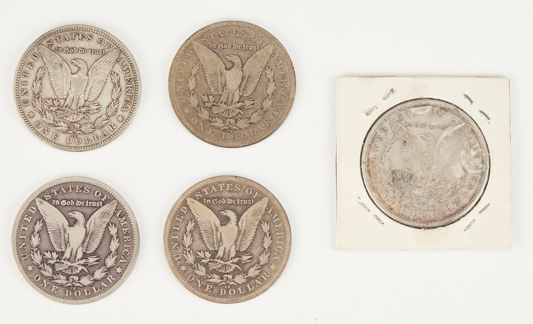 Lot 1162: 5 Morgan Silver Dollars, incl. CC, 8 Tail Feathers