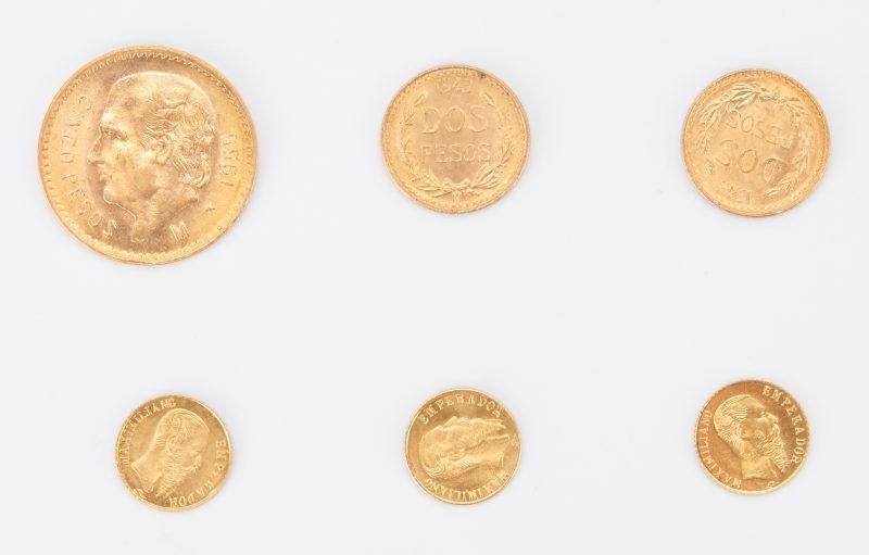 Lot 1163: 5 Mexican Restrike Gold Coins, incl. 1945-55 Pesos