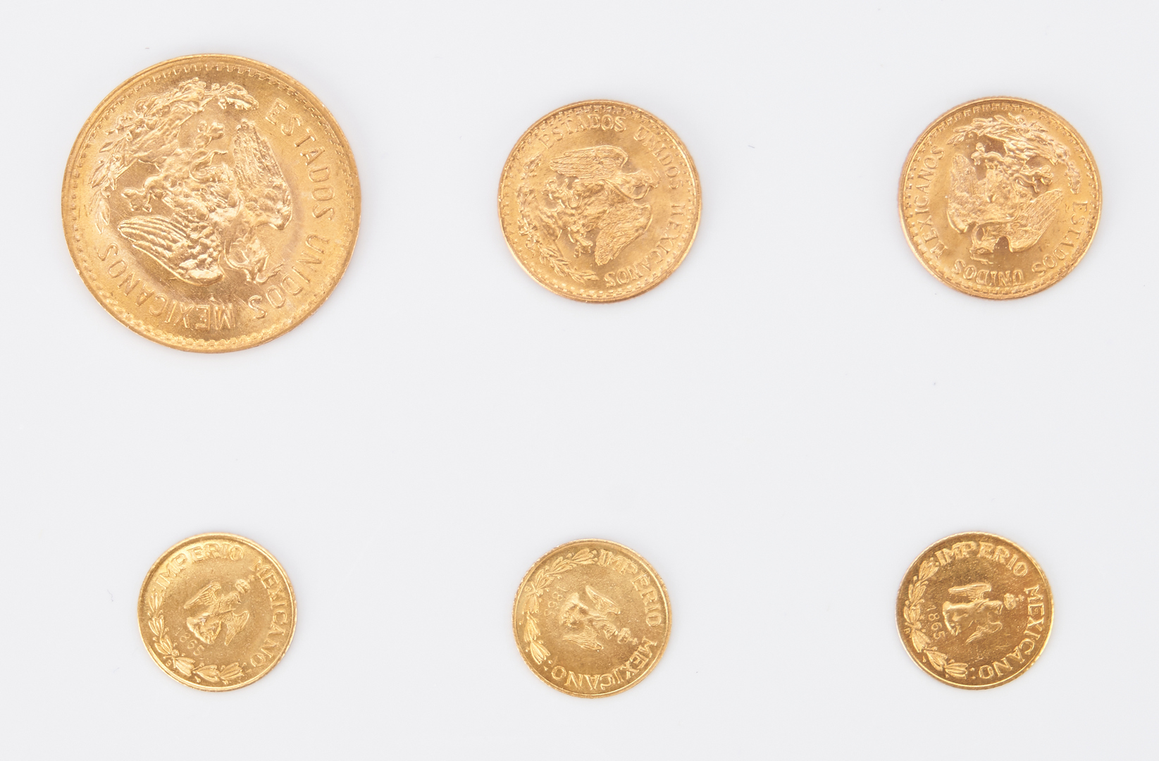 Lot 1163: 5 Mexican Restrike Gold Coins, incl. 1945-55 Pesos