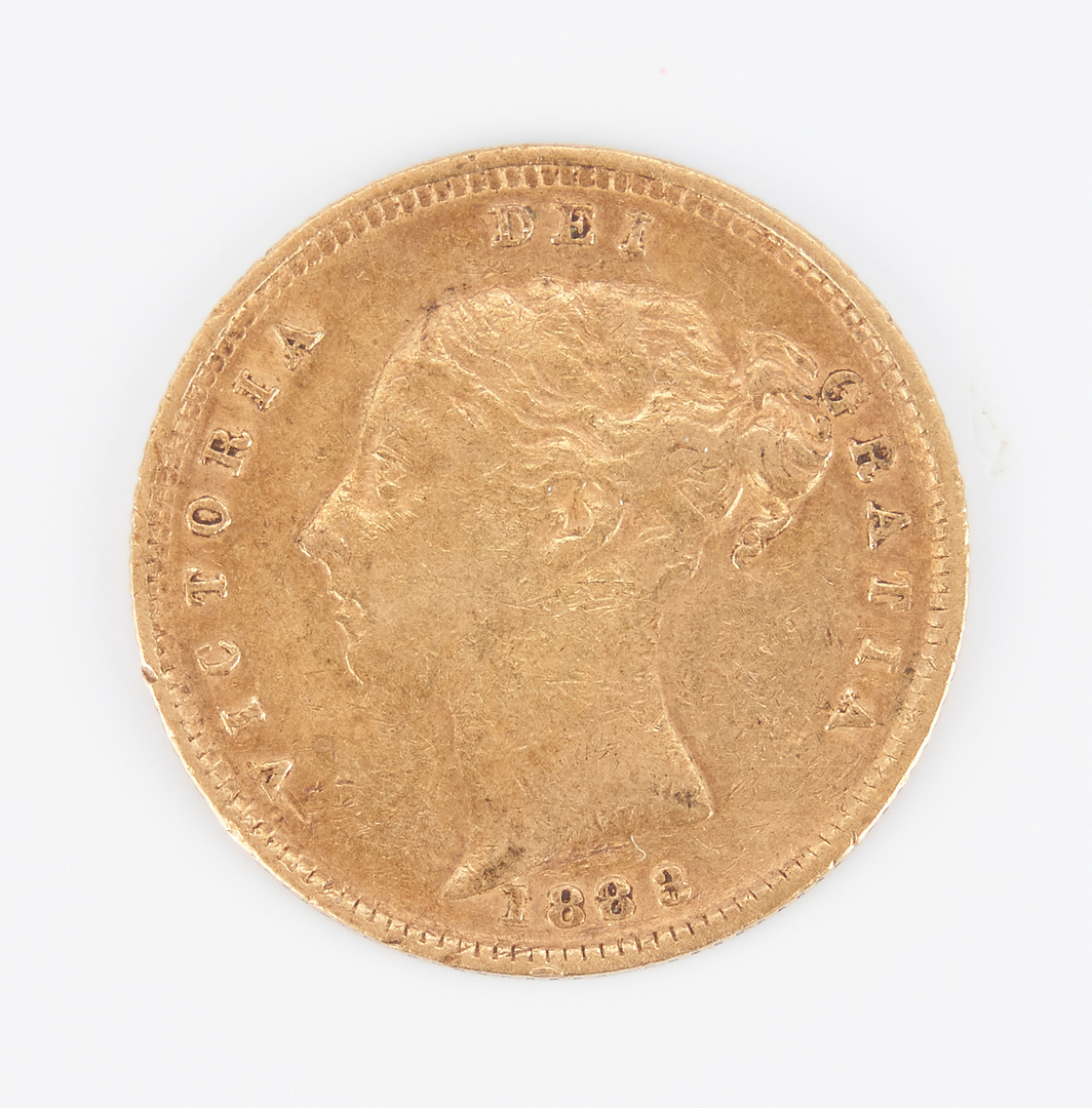 Lot 1165: 1883 London Mint Victoria 'Shield' Half Sovereign Gold Coin