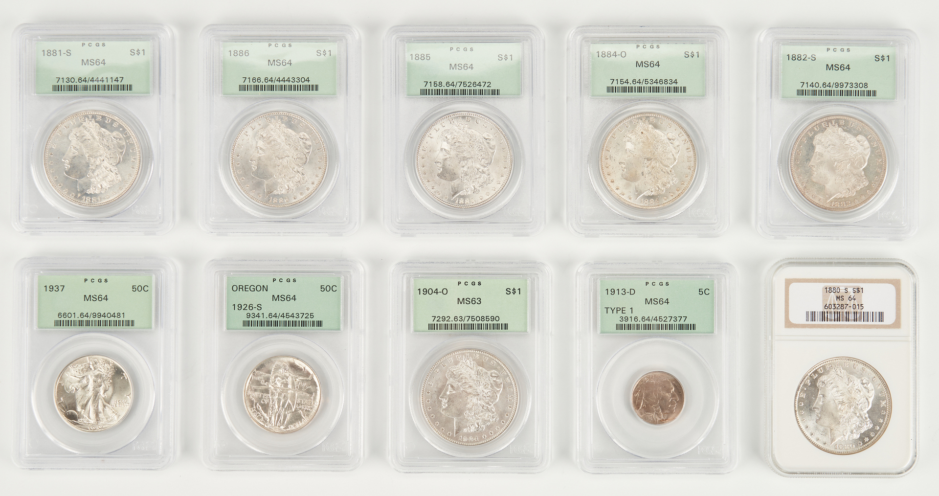 Lot 1166: 10 PCGS or ANA Graded Coins, incl. Morgan Dollars