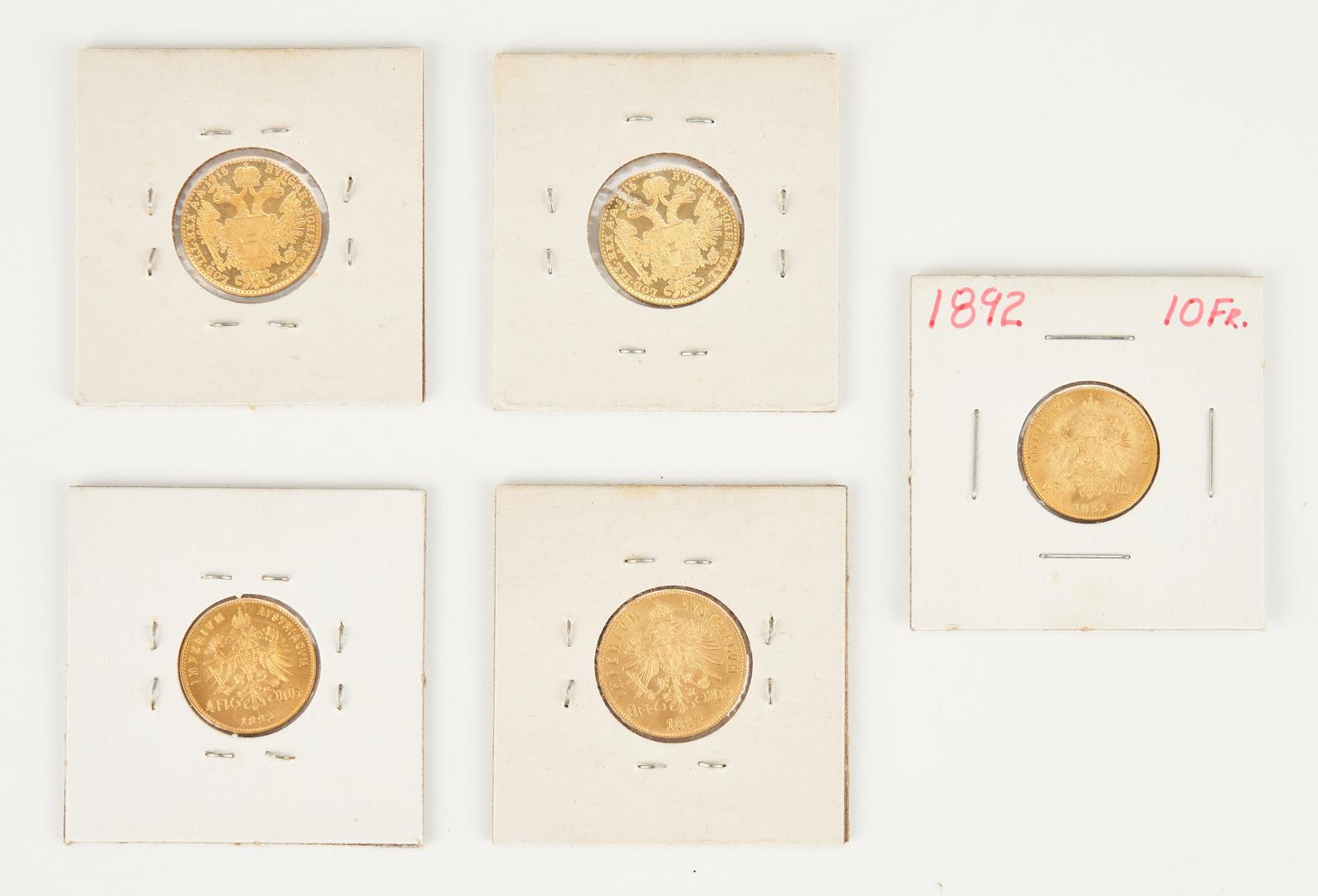Lot 1167: 5 Austrian Restrike Gold Coins, incl. 1892, 1915
