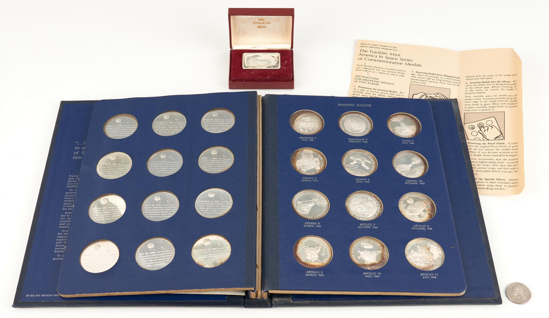 Lot 1168: America in Space Franklin Mint Sterling Silver Proof Set & Ingot