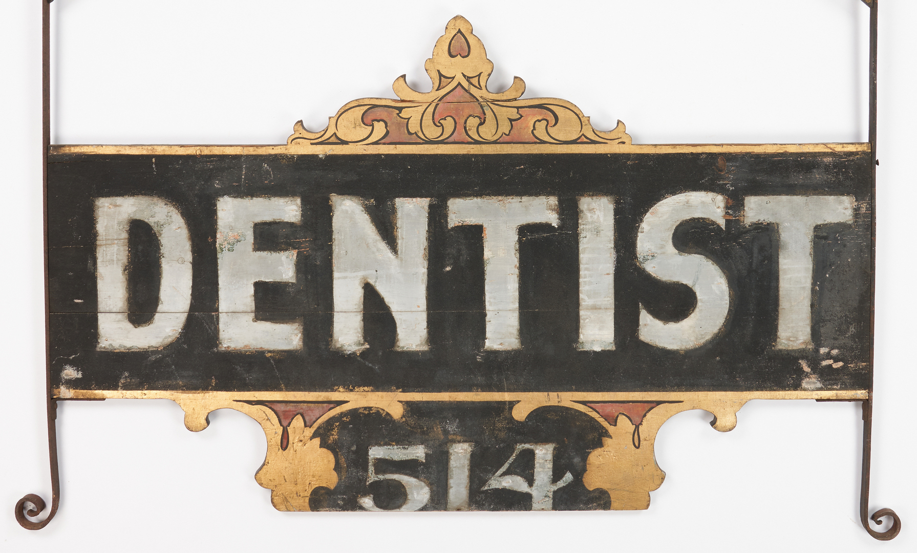 Lot 1172: Large Painted Wood & Iron Dentist Trade Sign