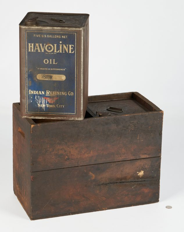 Lot 1177: 2 Havoline 5-Gallon Oil Cans & Crate