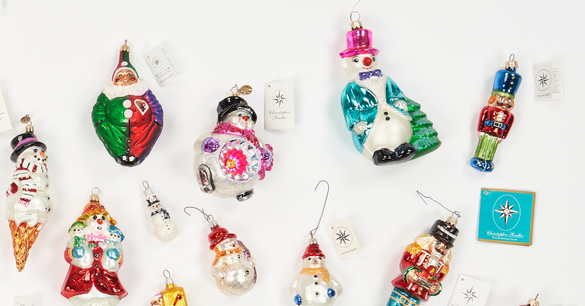 Lot 1182: 30 Christopher Radko Christmas Ornaments, incl. Signed