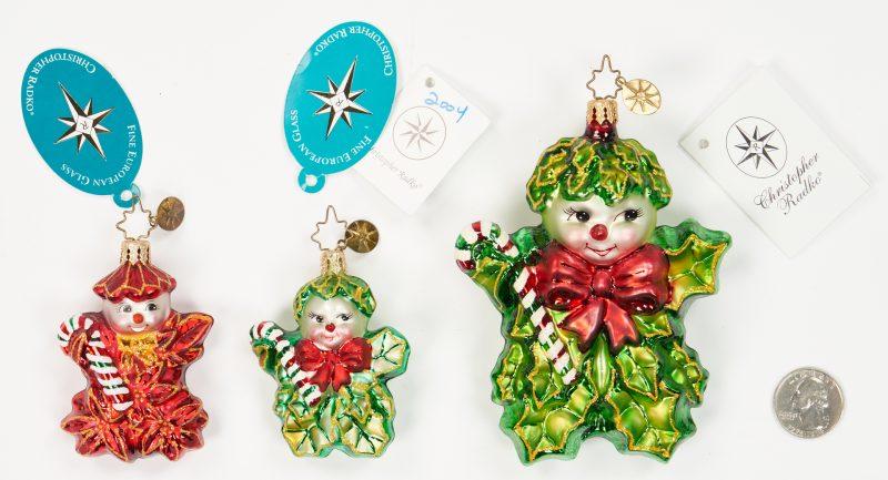 Lot 1184: 3 Radko Holly Jean Ornaments, incl. Poinzy Pal Gem