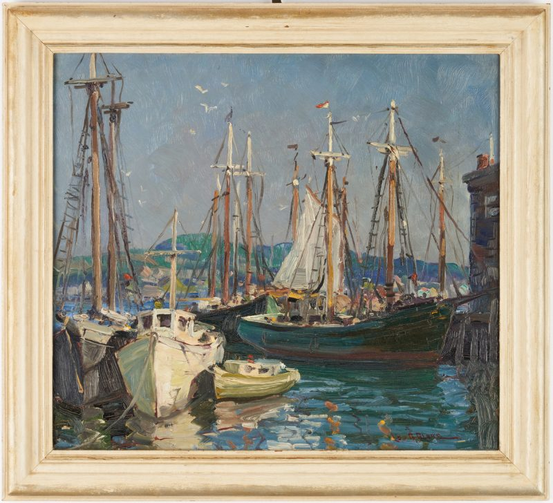 Lot 118: Leo Blake O/B Harbor Scene, Ships in Gloucester