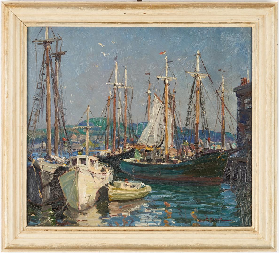 Lot 118: Leo Blake O/B Harbor Scene, Ships in Gloucester