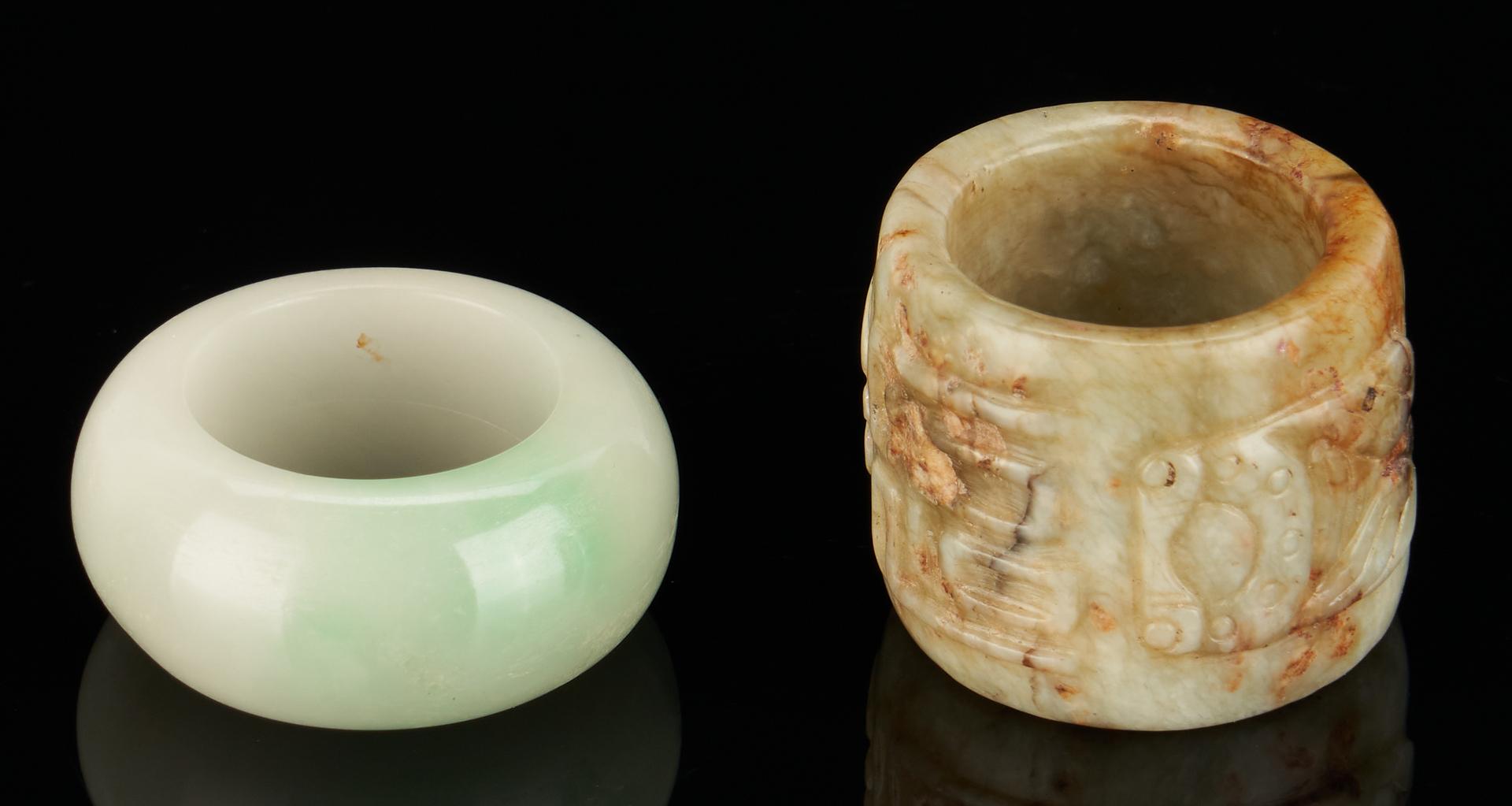 Lot 11: 3 Chinese Jade Rings, incl. Dragon