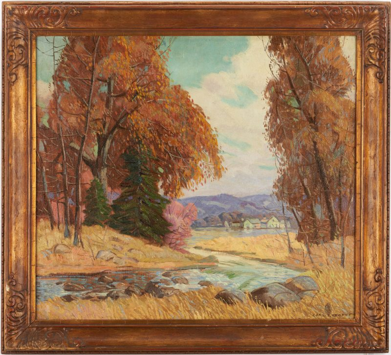 Lot 120: Carl R. Krafft O/C Painting, Autumn Landscape