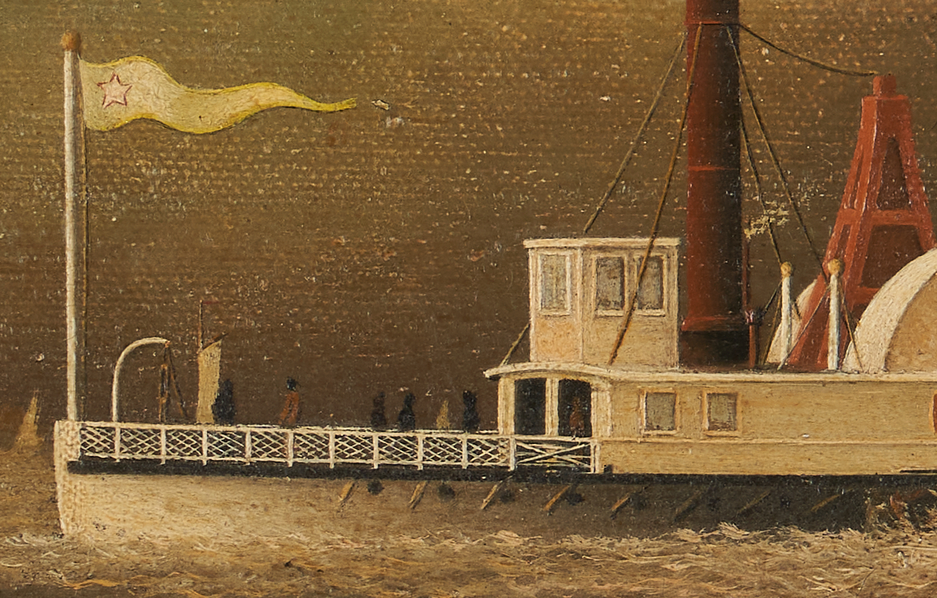 Lot 121: American School, 19th C. Steamboat Painting