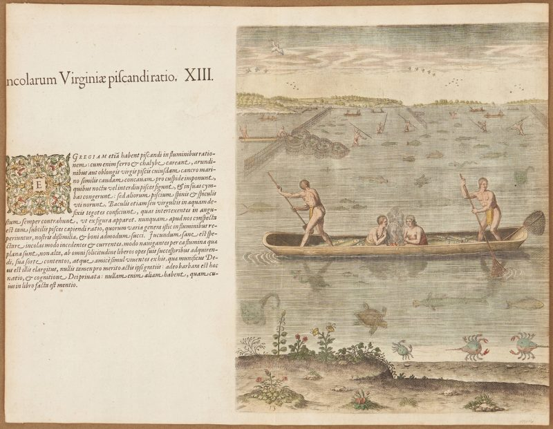 Lot 123: After John White: Manner of Fishing in Virginia, Rare Engraving