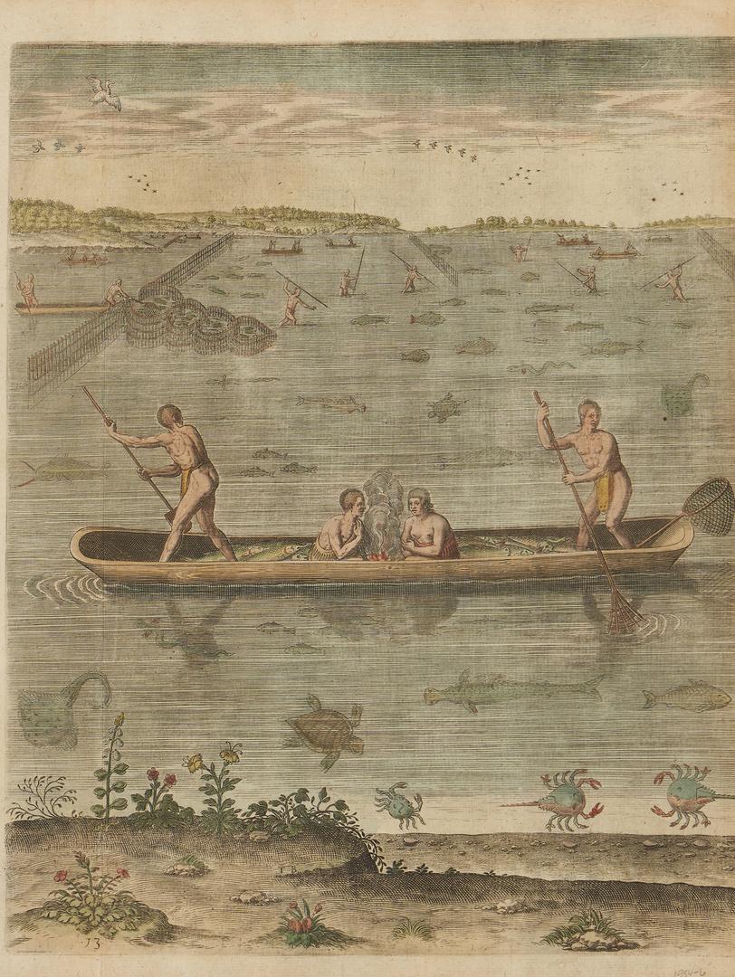 Lot 123: After John White: Manner of Fishing in Virginia, Rare Engraving