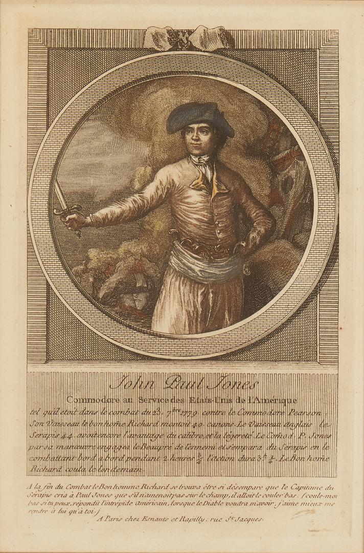Lot 125: 4 Rare Prints incl. John Paul Jones, Commodore Hopkins, Franklin, Washington