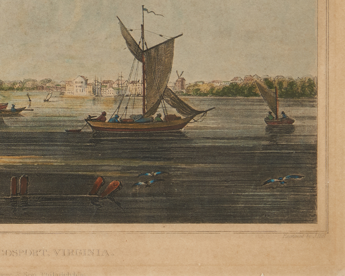 Lot 127: View of Norfolk from Cosport Virginia c. 1820