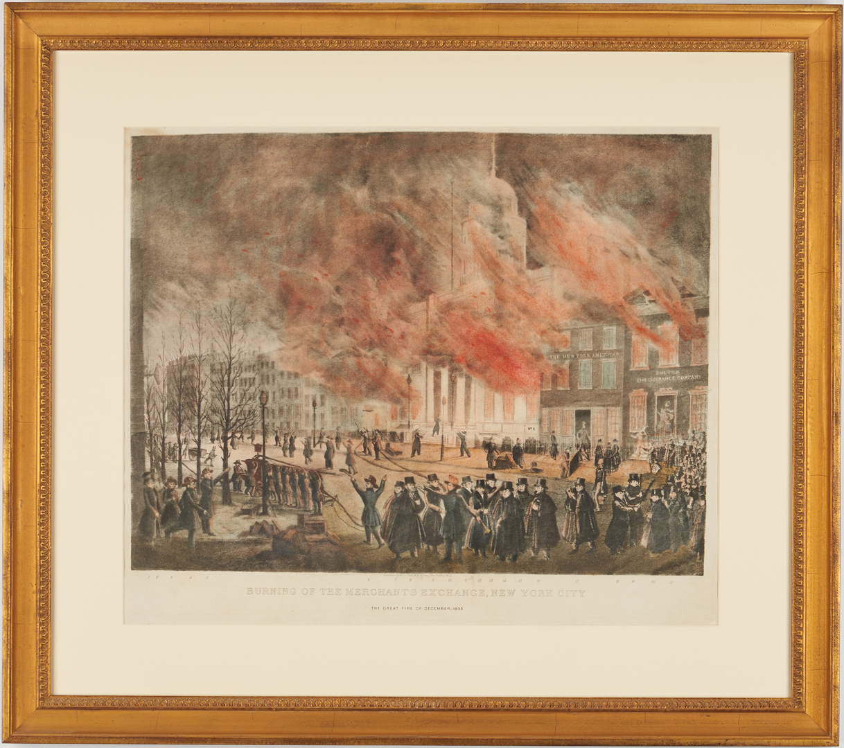 Lot 128: Burning of the NY Merchant's Exchange, 1909 lithograph