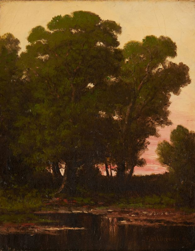 Lot 136: Carl Christian Brenner O/C, Sunset Landscape Painting