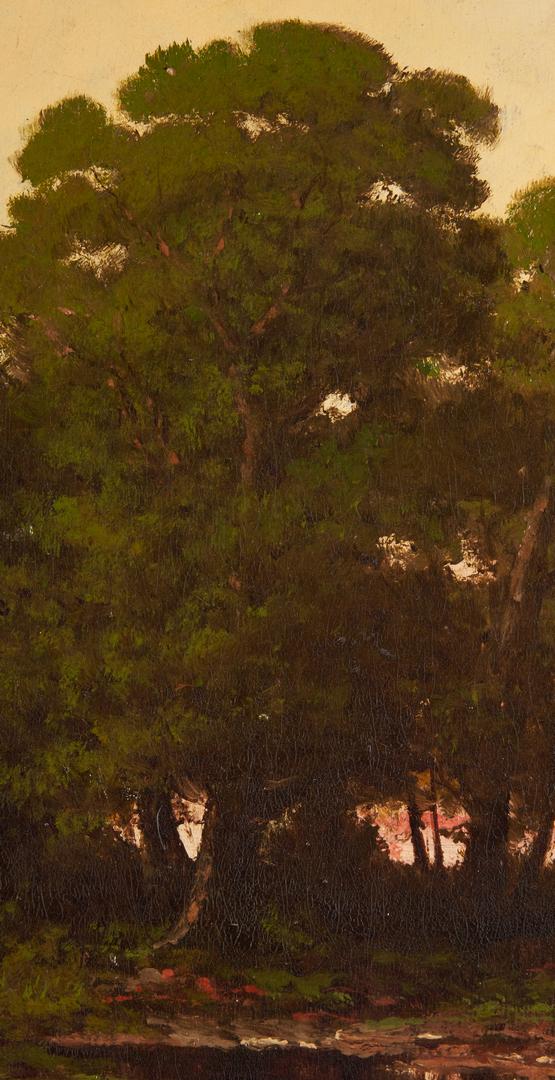 Lot 136: Carl Christian Brenner O/C, Sunset Landscape Painting