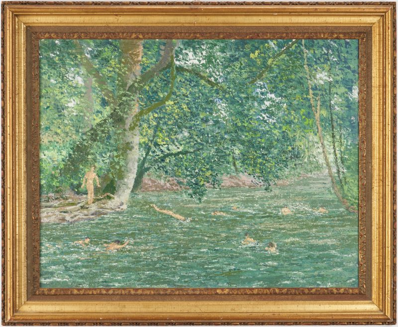 Lot 137: J. Vance Miller O/C Painting, Swimming Pool