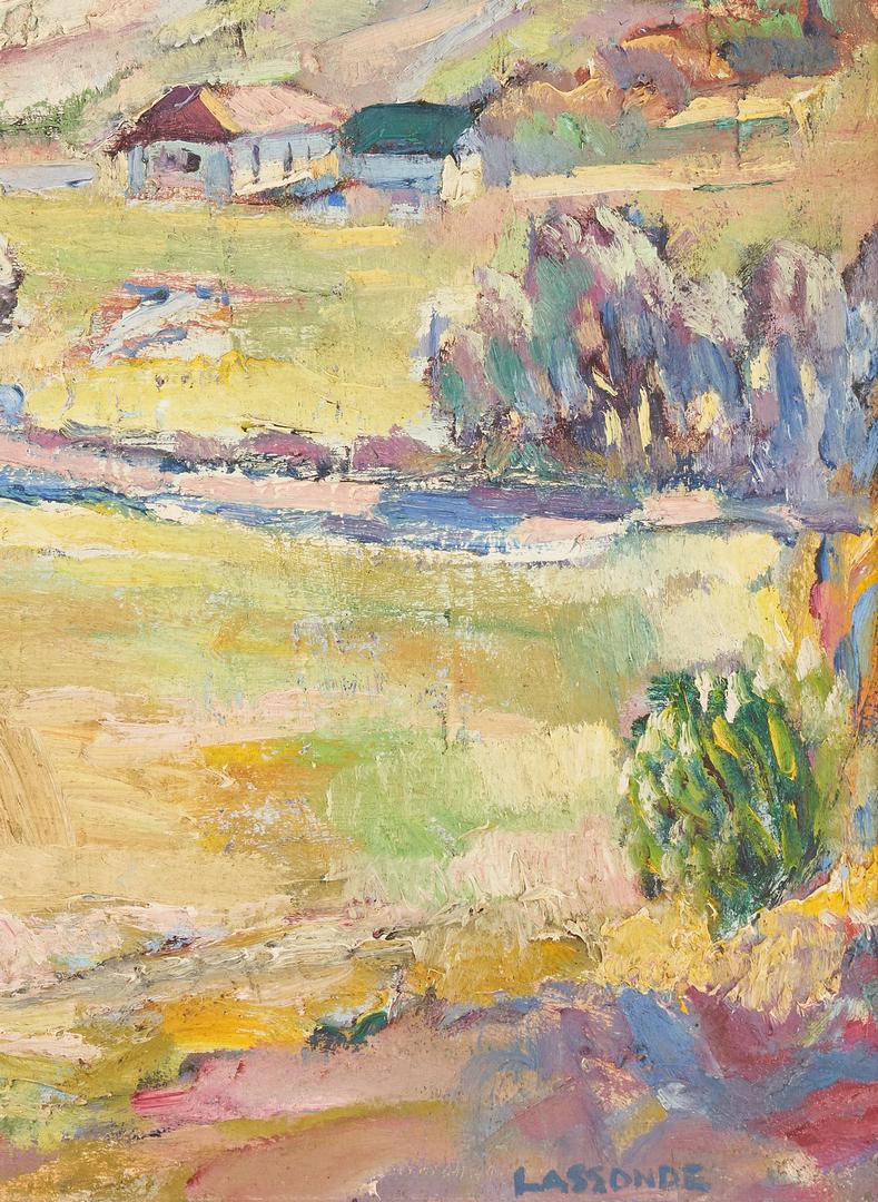 Lot 139: Omer Lassonde O/B Painting, Idyllic Landscape