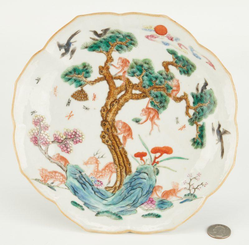 Lot 13: Dish with Monkey, Deer, & Wasp, Xianfeng