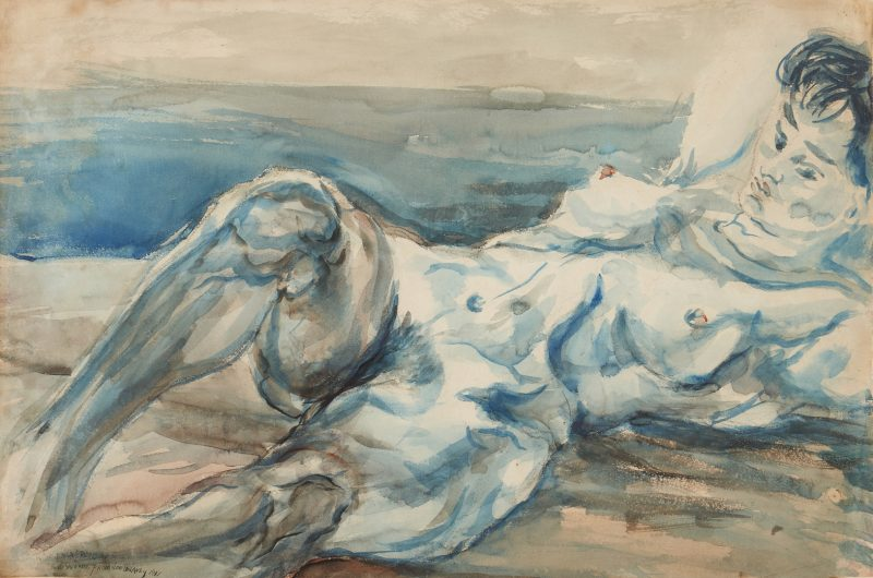 Lot 142: Joseph Delaney Watercolor of a Nude Woman