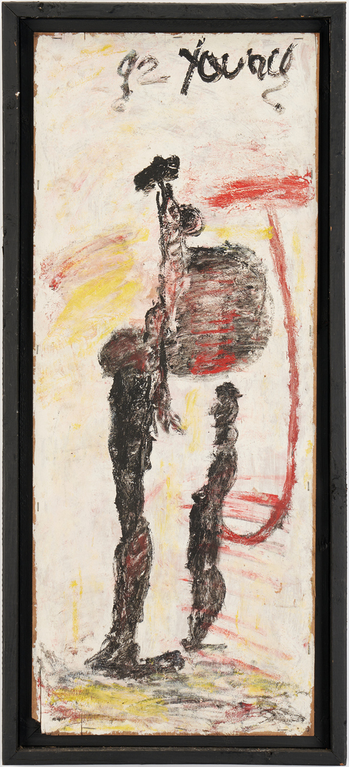 Lot 149: Purvis Young Outsider Art Painting, Two Abstract Figures