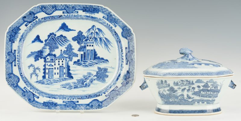 Lot 14: Chinese Blue & White Export Tureen + Platter