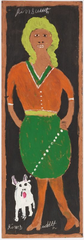 Lot 151: J. L. Sudduth Folk Art Painting, Woman Walking Dog
