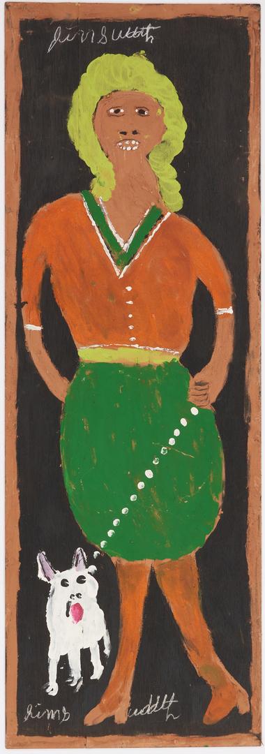 Lot 151: J. L. Sudduth Folk Art Painting, Woman Walking Dog