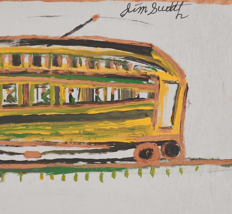 Lot 152: 2 J. L. Sudduth Paintings, Train Scene & Streetcar