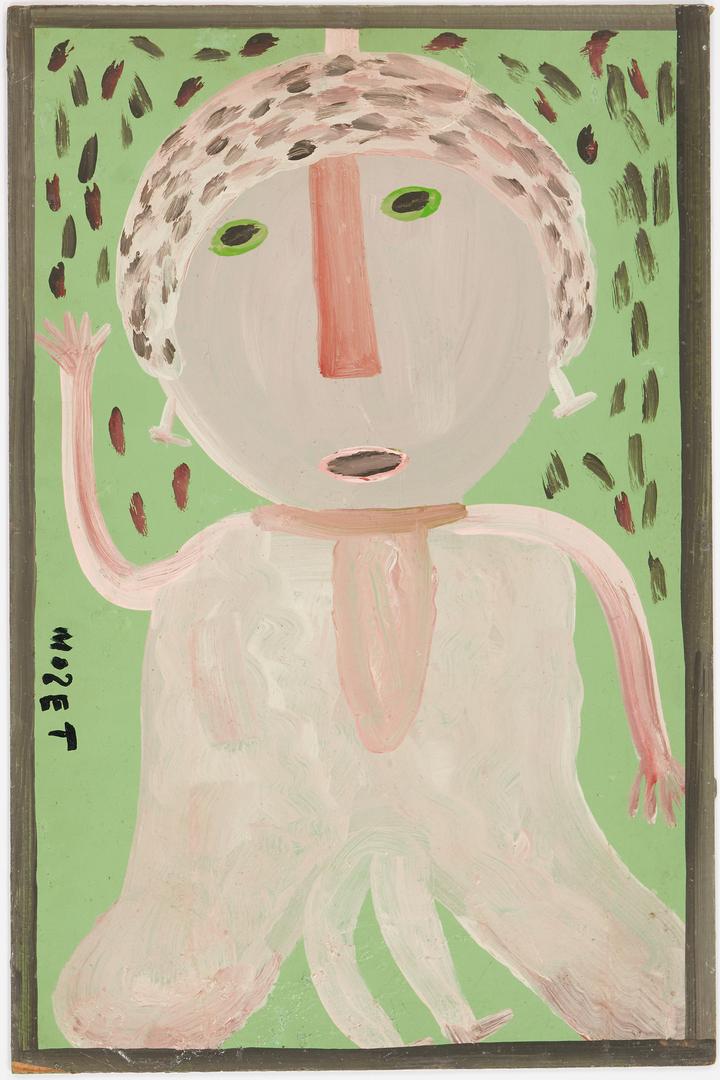 Lot 153: 2 Mose Tolliver Folk Art Paintings, Figure & Birds w/ Flowers