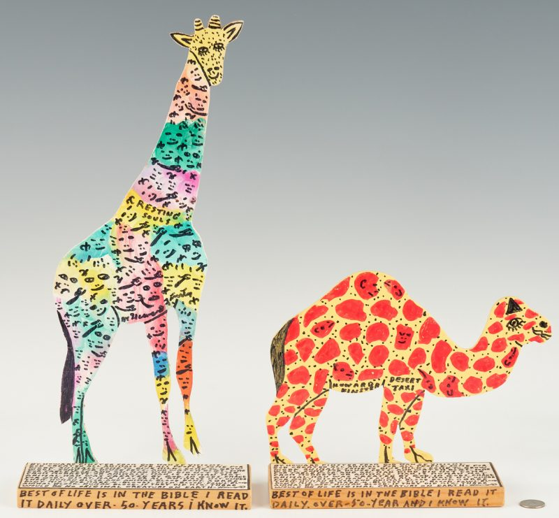 Lot 154: Howard Finster Folk Art Camel & Giraffe Bookends