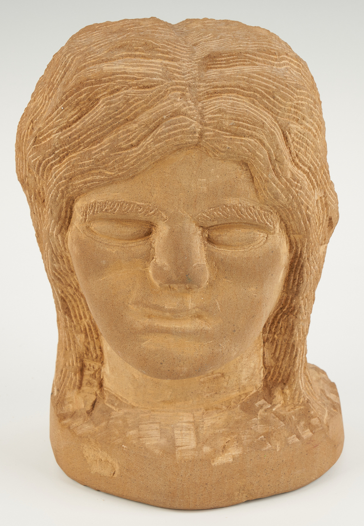 Lot 155: Popeye Reed Carved Female Head & Plaque