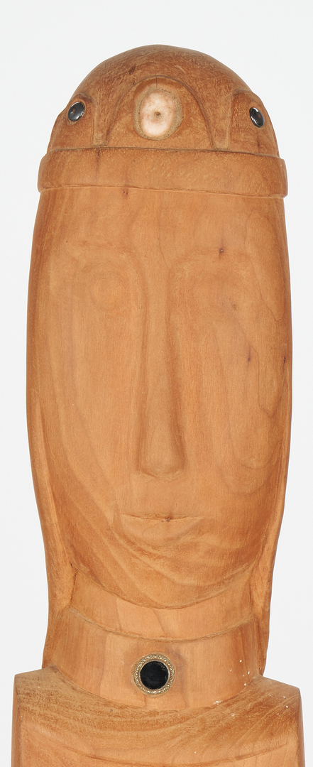 Lot 158: Olen Bryant Tall Wood Sculpture With Crown
