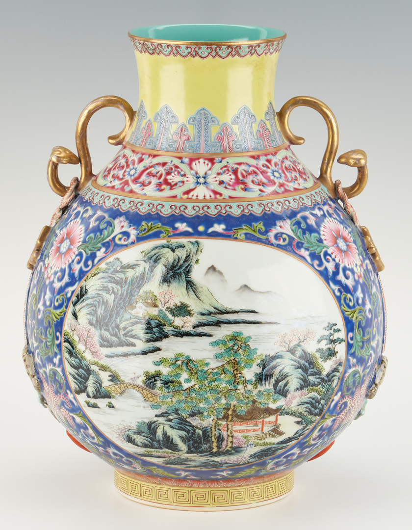 Lot 15: Famille Rose Vase with Serpent Handles