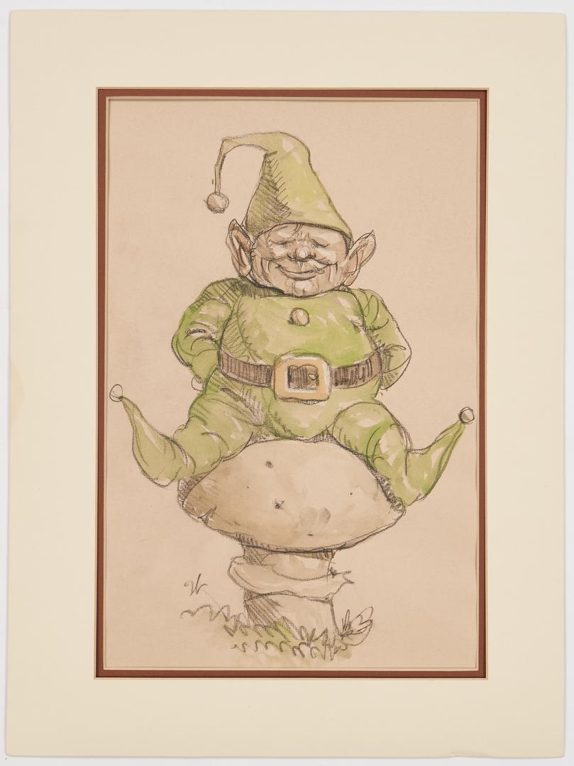 Lot 160: 2 Werner Wildner Works on Paper, Gnomes