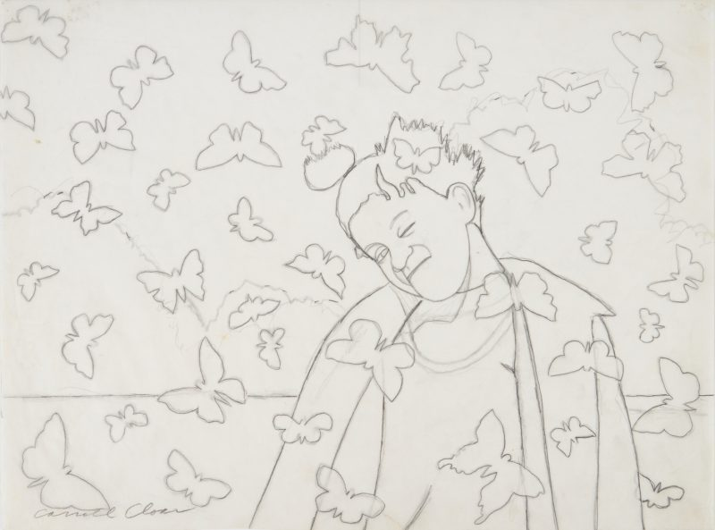 Lot 162: Carroll Cloar Drawing, Man w/ butterflies
