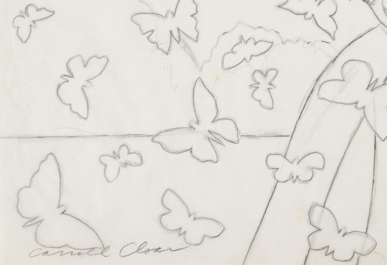 Lot 162: Carroll Cloar Drawing, Man w/ butterflies