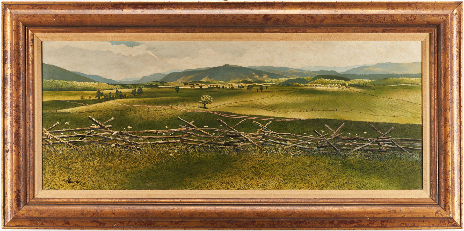 Lot 166: John Chumley Cades Cove Oil on Board Painting