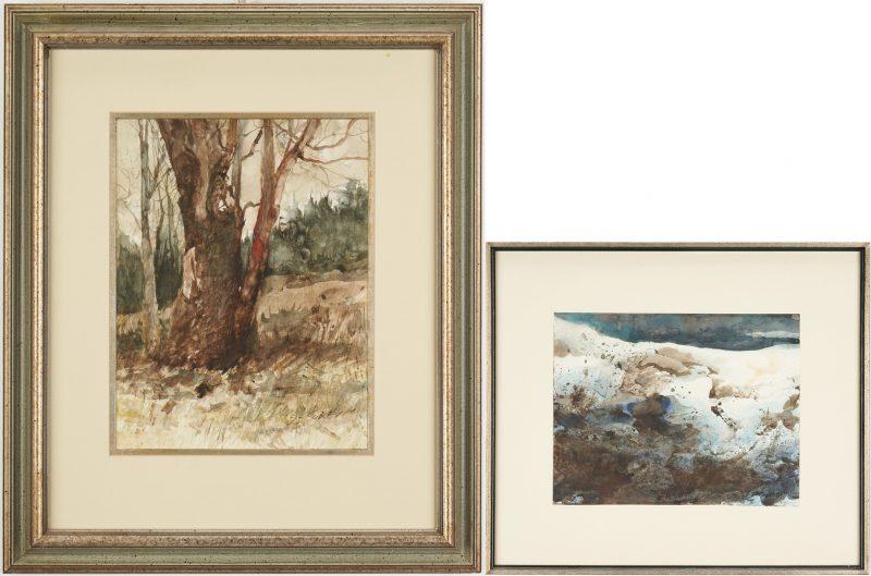 Lot 167: 2 Carl Sublett Watercolors, Hill Tree & Winter Mountain