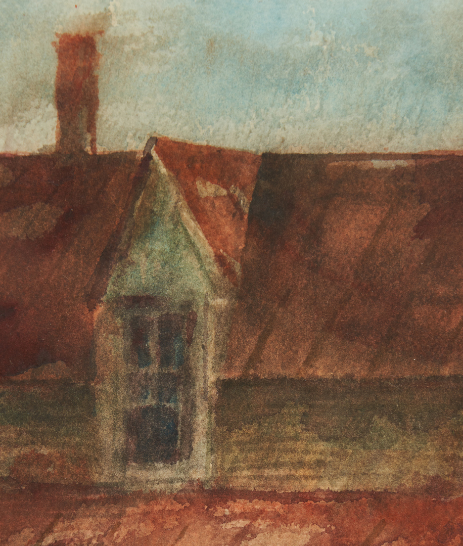Lot 169: 2 Carl Sublett Watercolor Paintings incl. The Steeple House