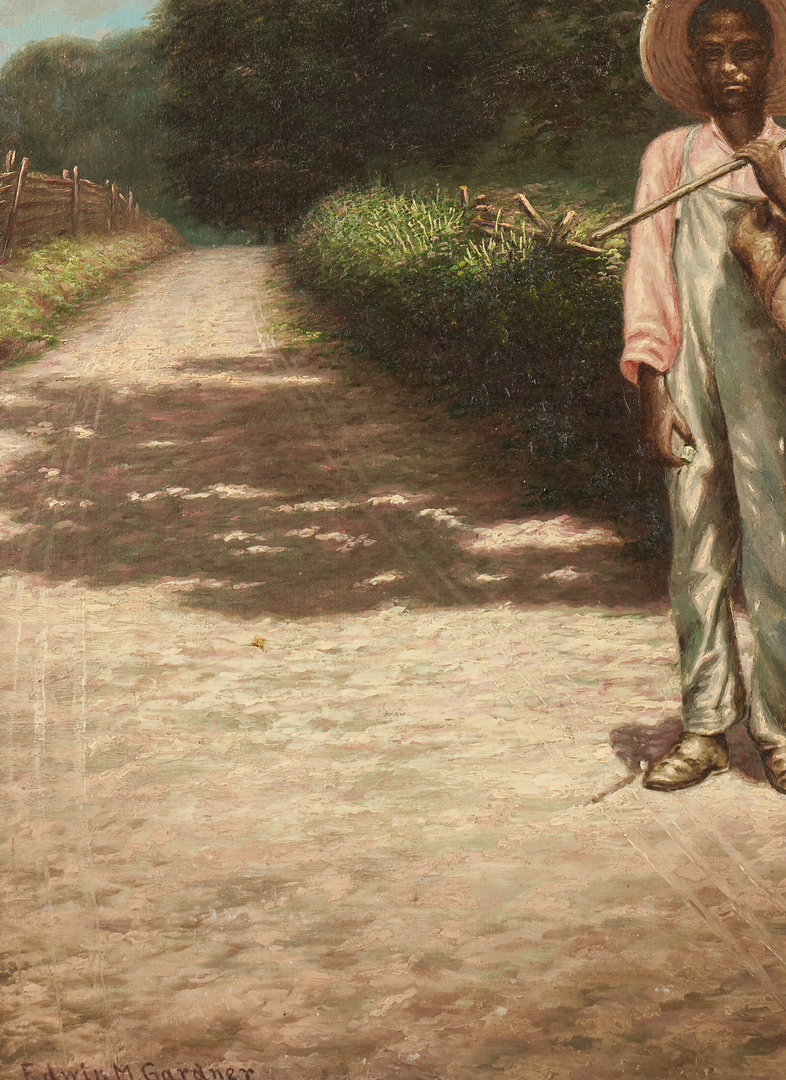 Lot 171: Exhibited Edwin M. Gardner Painting, Hoe in Hand