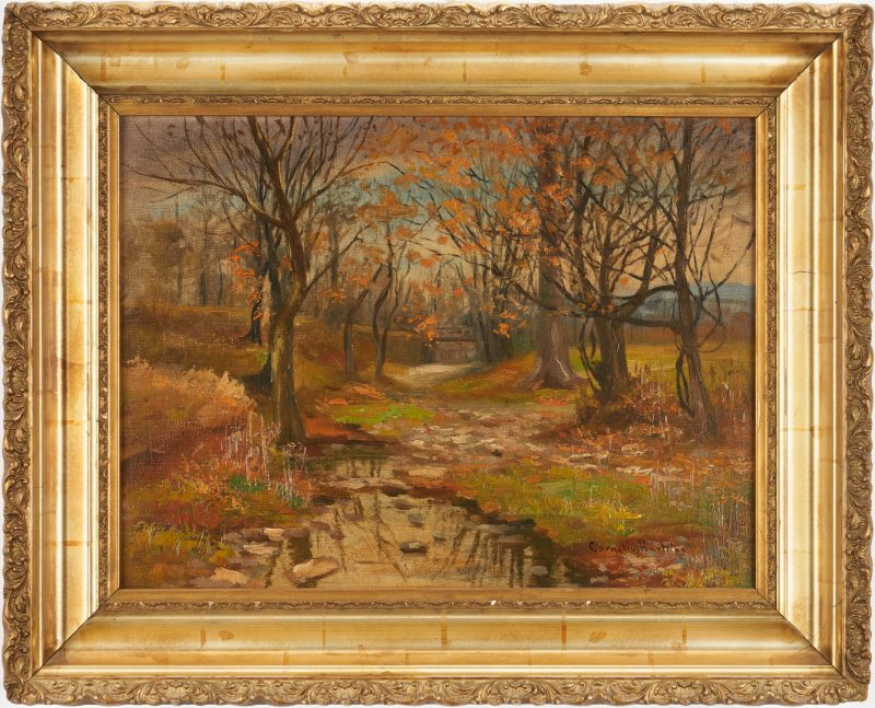 Lot 174: Cornelius Hankins O/C, Autumn Landscape w/ Creek