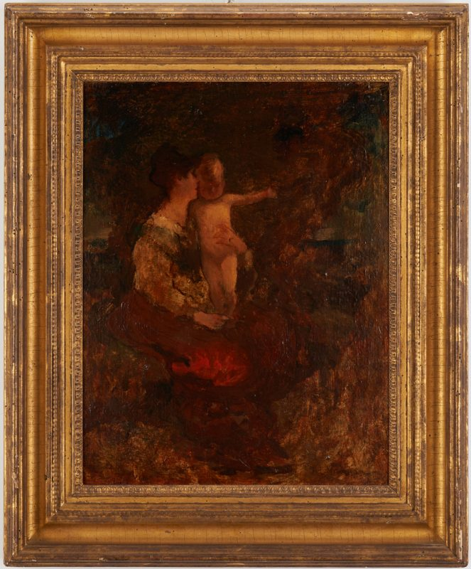 "Lot 176: Robert Loftin Newman Exhibited Painting, ""Mother and Child"""