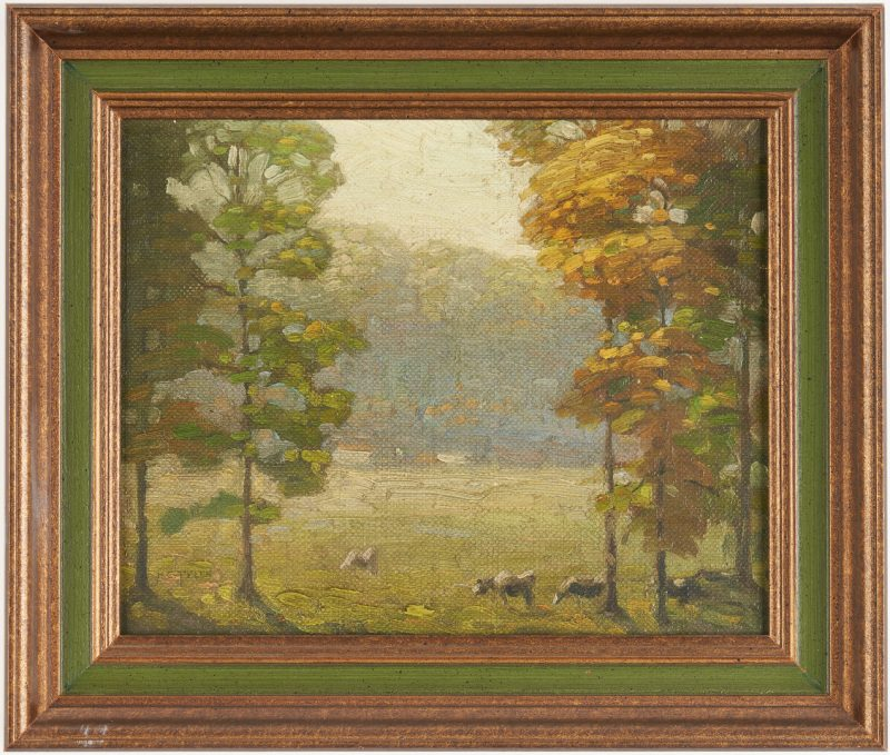 Lot 177: Hugh Tyler O/B Landscape w/ Cows, poss. TN